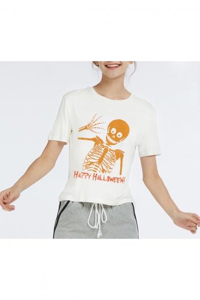 Hot Fashion HAPPY HALLOWEEN Skull Printed Round Neck Short Sleeve White T-Shirt