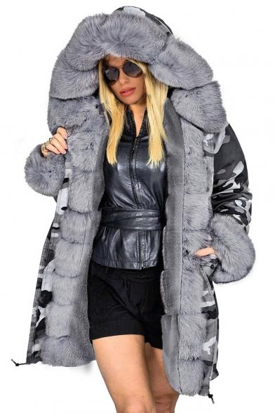 Hot Popular Long Sleeve Tunics Drawstring Hem Camouflage Printed Faux Fur Hooded Coat