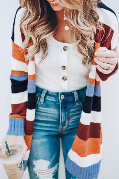 Hot Popular Striped Print Long Sleeve Open Front Longline Cardigan