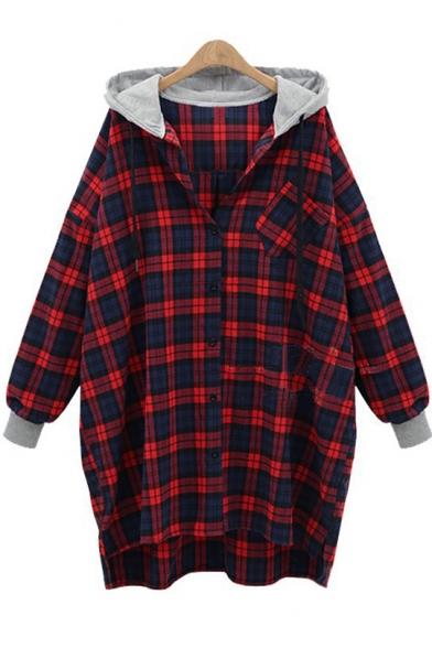Leisure Long Sleeve Plaid Printed Button Down Rib Cuff Hooded Shirt