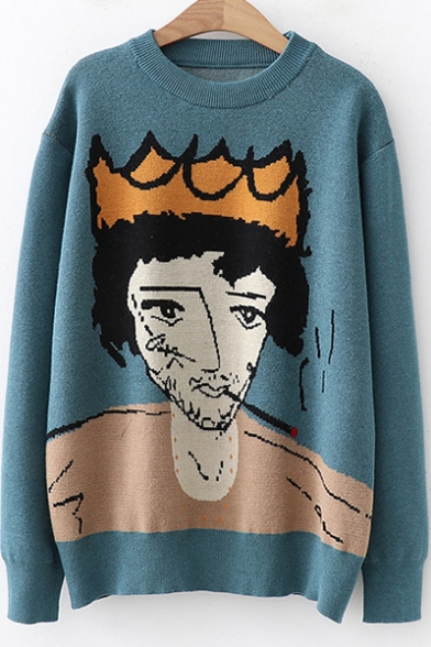 Купить со скидкой Long Sleeve Crewneck Cartoon Character Pattern Pullover Cozy Sweater