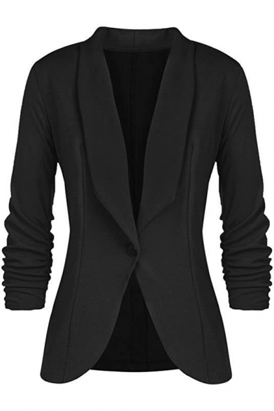 Ruched Long Sleeve Plain Lapel Collar Single Button Blazer