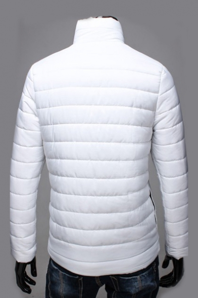 Simple Casual Long Sleeve Plain Stand Collar Zipper Quilted Coat