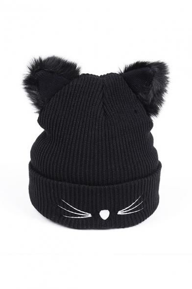 Stylish Winter's New Trendy Cute Cat Printed Knit Black Hat