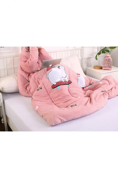 Thick Warm Pink Cute Cat Printed Home Office Quilt with Sleeves Lazy Sofa Blanket 150*200CM