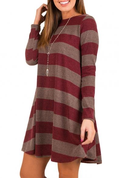 Trendy Long Sleeve Round Neck Striped Mini Swing Dress