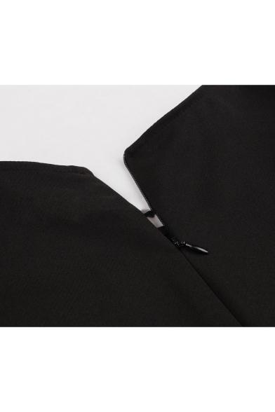 Vintage Plaid Patchwork Round Neck Sleeveless Zip Back Mini Black A-Line Pleated Dress
