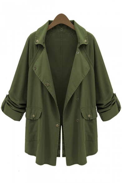 Army Green Long Sleeve Lapel Collar Split Back Plain Single Breasted Tunics Trench Coat, LC495385
