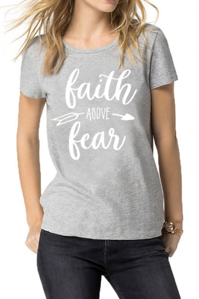 Chic Short Sleeve Round Neck Letter FAITH ABOVE FEAR Printed Leisure Gray T-Shirt