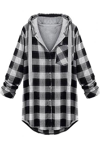 Classic Check Plaids Contrast Drawstring Hood Long Sleeve Button Placket Jacket