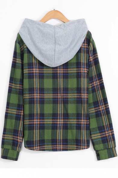 Classic Plaid Printed Long Sleeve Green Button Down Hooded Shirt