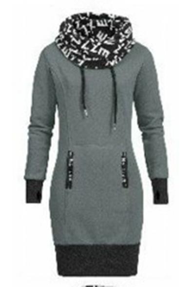 Colorblocking Drawstring Hood Long Sleeve Casual Hoodie Dress
