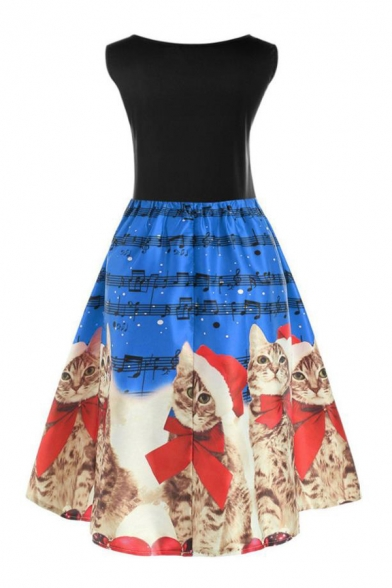 Cute Cartoon Cat Printed Colorbock Round Neck Sleeveless Midi A-Line Dress