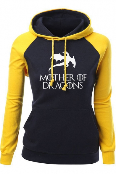 Fashion Colorblock Letter MOTHER OF DRAGONS Printed Long Sleeve Fitted Hoodie