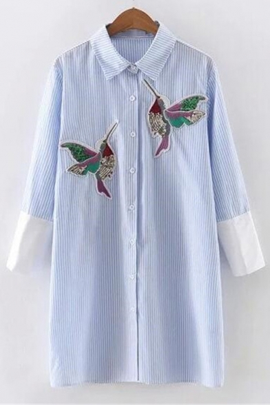 Fashion Striped Print Bird Embroidered Contrast Three-Quarter Sleeve Tunic Button Down Shirt