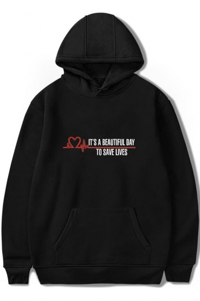 Heart Letter IT'S BEAUTIFUL DAY TO SAVE LIVES Printed Hoodie