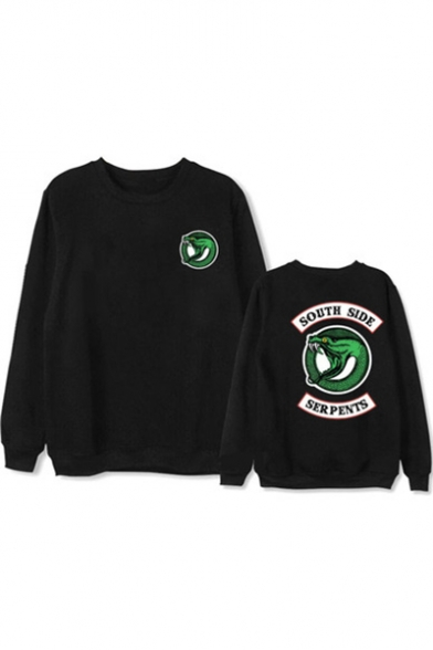 Long Sleeve Round Neck Letter Animal Printed Sweatshirt
