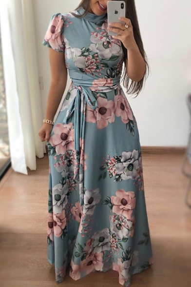 Hot Sale Short Sleeve Mock Neck Floral Pattern Zip Up Back Maxi Fit & Flare Dress