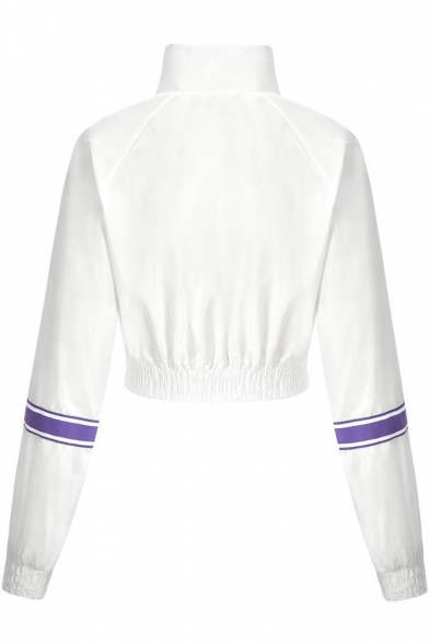 Leisure Long Sleeve Lapel Collar Stripes Printed White Zip Closure Sports Cropped Jacket