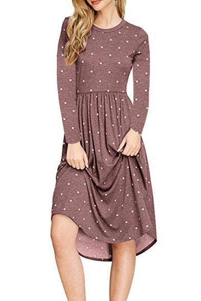 Leisure Long Sleeve Round Neck Polka Dot Printed Midi A-Line Dress