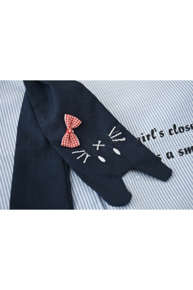 Lovely Cartoon Claw Letter Striped Printed Embroidered Tie Long Sleeve Shirt