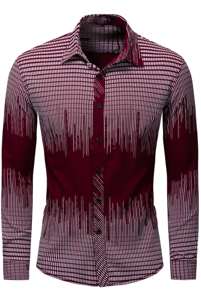 Men's Colorblock Plaid Printed Lapel Collar Long Sleeve Button Front Slim Fitted Shirt