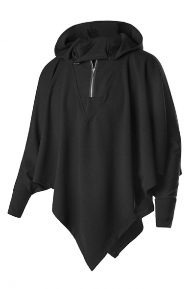 Punk Style Long Sleeve Plain Oversize Asymmetrical Hem Batwing Half Zip-Up Black Hoodie
