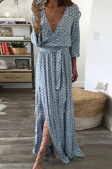 Sexy Long Sleeve V Neck Tie Waist Split Front Pattern Maxi Asymmetric Blue Dress