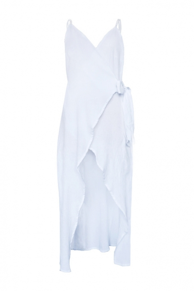 Sexy V Neck Sleeveless Plain Split Front Open Back Boho Style Maxi Dress