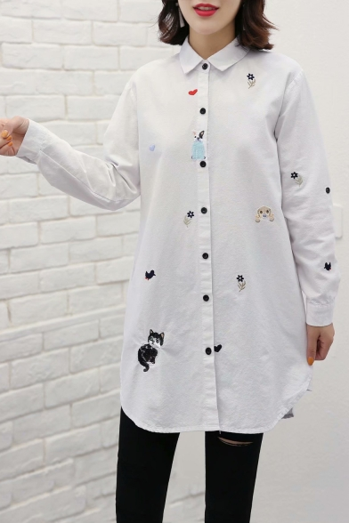 Simple Cartoon Embroidered Long Sleeve Lapel Collar Loose Fitted Button Down Tunic White Shirt