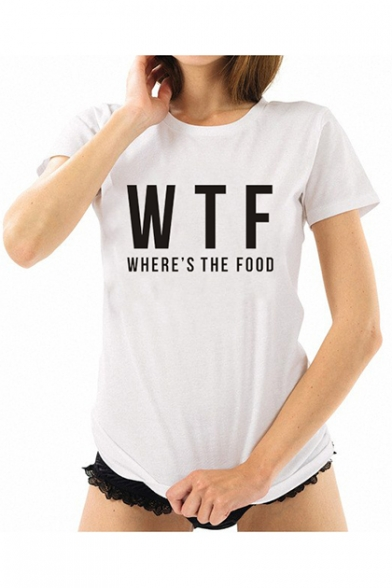 Simple Letter WTF Printed Short Sleeve Round Neck Cotton Fitted Tee for Girls