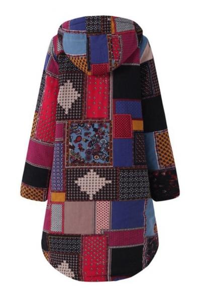 Single Breasted Long Sleeve Plaid Printed Longline Loose Hooded Coat