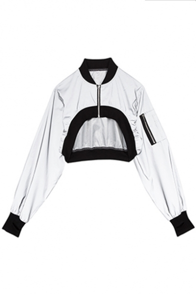 Street Style Hot Stand Collar Long Sleeve Reflective Asymmetrical Cropped Silver Coat