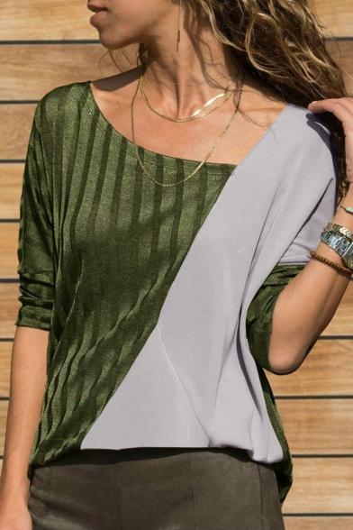 Unique Long Sleeve Colorblock Asymmetrical Neck Cozy Tee