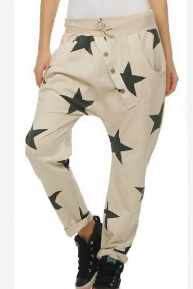 Unique Star Printed Drawstring Waist Drop-Crotch Harem Pants