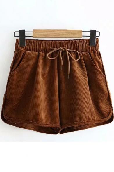 Купить со скидкой Winter's Vintage Corduroy Drawstring Waist Loose Fitted Khaki Shorts