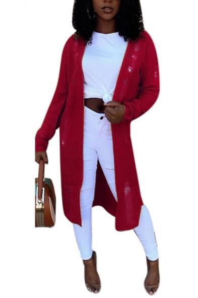 Women's Burgundy Long Sleeve Ripped Detail Longline Leisure Solid Cardigan