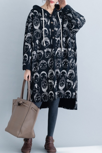 All Over Head Printed Long Sleeve Tunics High Low Button Embellished Hoodie