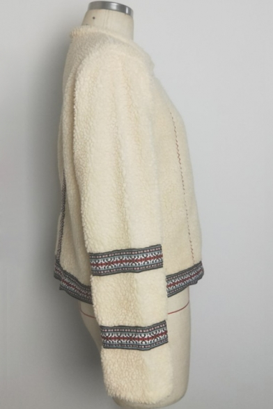 Beige Long Sleeve Round Neck Tribal Patched Lamb Woolen Coat