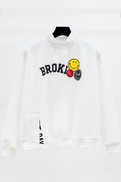 Cute Cartoon Smile Face Letter BROKI Printed High Neck Long Sleeve Pullover Sweatshirt