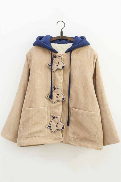 0a1465425 Fresh Fox Embroidered Single Breasted Colorblock Corduroy Hooded ...