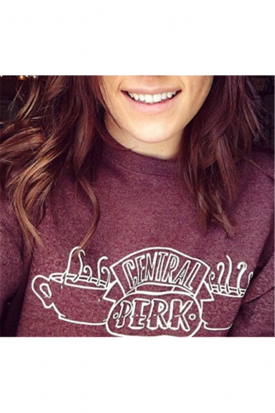 Long Sleeve Round Neck Letter Central Park Printed Burgundy Sweatshirt