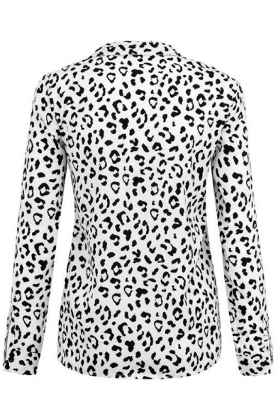 Leopard Printed Long Sleeve Notched Lapel Collar Button Down Shirt