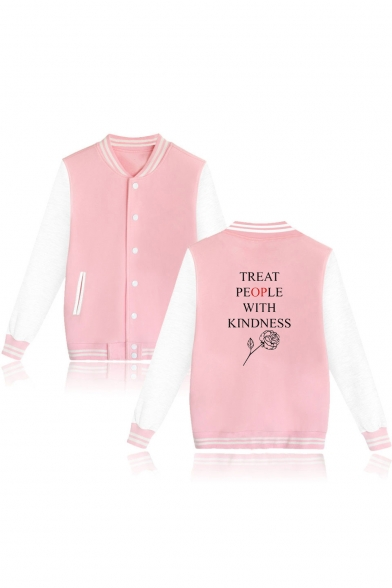 Letter Rose Color Block Rib Trim Single Breasted Stand Collar Baseball Jacket