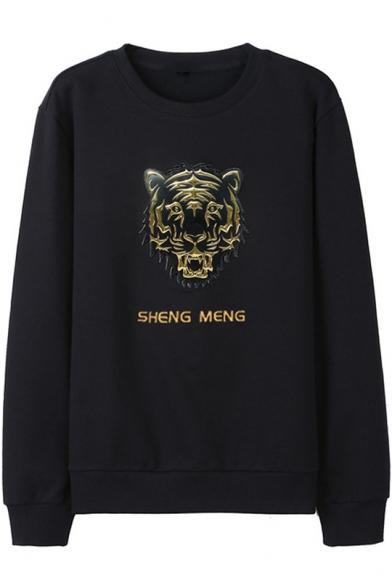 Letter SHENG MENG Tiger Head Embroidered Crewneck Long Sleeve Black Sweatshirt