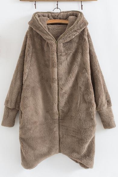 Long Sleeve Plain Leisure Double-Faced Fleece Zip Placket Hooded Coat