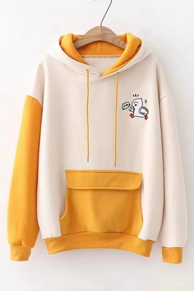 Lovely Cartoon Duck Pattern Beige and Yellow Colorblock Long Sleeve Big Pocket Front Hoodie