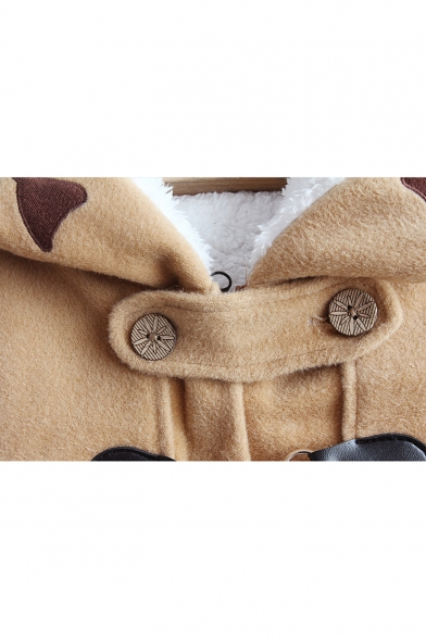 Lovely Cat Fish Bone Embroidered Long Sleeve Toggle Button Front Camel Woolen Coat