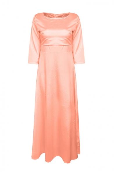 Pink Boat Neck Half Sleeve Women's A-line Elegant Plain Dress