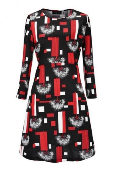 Pop Fashion Black Geo Print Round Neck Long Sleeve Mini Tee Dress